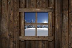 Het Venster van de de wintercabine Stock Foto's
