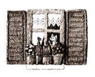Het venster van de kat Royalty-vrije Stock Afbeeldingen