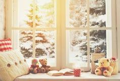 Het venster van de Kerstmiswinter met een boek, een kop van hete thee Royalty-vrije Stock Foto's