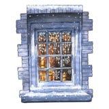 Het venster van de Kerstmiswinter van de waterverfillustratie royalty-vrije illustratie