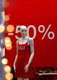 Het venster van de winkel 50 percenten weg royalty-vrije stock afbeeldingen