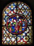 Het venster van het gebrandschilderd glas bij de Kathedraal van Canterbury Stock Foto's