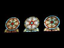 Het Venster van het gebrandschilderd glas in Tempel Royalty-vrije Stock Foto's