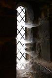 Het venster van het lancet met spinnewebben Stock Afbeeldingen