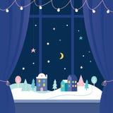 Het Vensterdecoratie van de de wintervakantie Sneeuwstad bij Nacht Vector ontwerp Stock Afbeelding