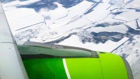 Het vensterpatrijspoort van de vliegtuigmening stock video