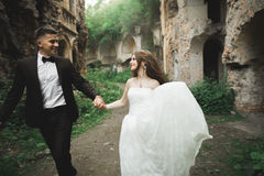 Het verbazen van gelukkig zacht modieus mooi romantisch Kaukasisch paar op het oude barokke kasteel als achtergrond Royalty-vrije Stock Afbeeldingen