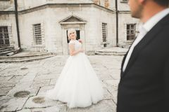 Het verbazen van gelukkig zacht modieus mooi romantisch Kaukasisch paar op het oude barokke kasteel als achtergrond Stock Foto