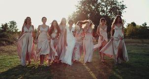 Het verbazen van mooie bruid met haar teammeisjes met bohostijl kleedt het lopen in verbazende zonsondergang Langzame moties stock footage