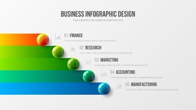 Het verbazende concept van de bedrijfs infographic presentatie vectorillustratie De collectieve marketing analyticsgegevens melde stock illustratie