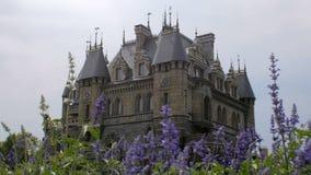 Het verbazende grote kasteel in middeleeuwse stijl, blauwe bloemen is bij eerste plan stock videobeelden