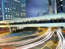 Het Verbazende Verkeer van Hongkong bij Nacht Royalty-vrije Stock Foto