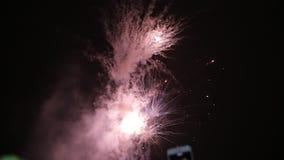 Het verbazende Vuurwerk toont De begroeting van mensenspruiten op een mobiele telefoon Heldere plonsen van bloemen van begroeting stock videobeelden