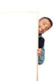 Het verbergen van de zakenman achter banner Royalty-vrije Stock Afbeelding
