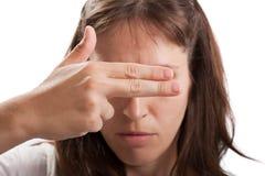 Het verbergende gezicht van de hand Stock Afbeelding