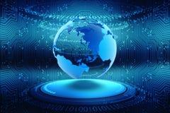Het Verbinden van bolinternet, Digitale Abstracte technologieachtergrond, de achtergrond van de Kringsraad Stock Foto