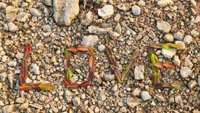 Het verbinden van liefde met de bladeren Stock Fotografie