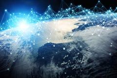 Het verbindingensysteem en de datasuitwisselingen op 3D aarde geven terug Royalty-vrije Stock Foto