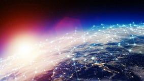 Het verbindingensysteem en de datasuitwisselingen op 3D aarde geven terug Royalty-vrije Stock Foto's