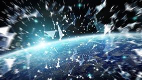 Het verbindingensysteem en de datasuitwisselingen op 3D aarde geven terug Stock Afbeeldingen