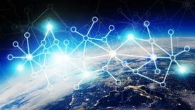 Het verbindingensysteem en de datasuitwisselingen op 3D aarde geven terug Stock Fotografie