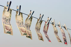 Het verbod op Rs 500, Rs 1000 nota's is chirurgische staking bij verschrikking de financiering, zwart geld Stock Afbeeldingen