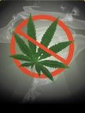 Het verbod van de drug met rookachtergrond vector illustratie