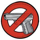 Het verbodsschets van het pistool vector illustratie