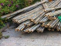 Het verbonden droge bamboehout stock afbeelding