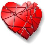 Het verbrijzelde rode hart van de Valentijnskaart dat aan stukken wordt gebroken Royalty-vrije Stock Afbeeldingen