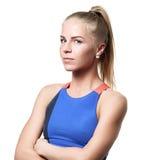 Het verdenken van Blauw eyed blond meisje Stock Afbeelding