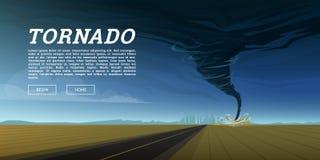 Het verdraaien van tornado of onweer van overzeese orkaan in oceaan Realistische tropische natuurramp of ramp, catastrofe en royalty-vrije illustratie
