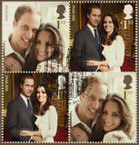 Kate Middleton en Prins William Royal Wedding Stamps Stock Foto's
