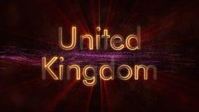 Het Verenigd Koninkrijk - de Glanzende het van een lus voorzien animatie van de de naamtekst van het land royalty-vrije stock foto's