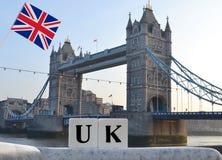 Het Verenigd Koninkrijk in de vorm van woorden met behulp van kubussen Stock Afbeelding