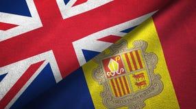 Het Verenigd Koninkrijk en Andorra twee vlaggen textieldoek, stoffentextuur stock illustratie
