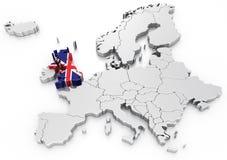 Het Verenigd Koninkrijk op een Euro kaart Stock Afbeelding