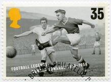 HET VERENIGD KONINKRIJK - 1996: toont Duncan Edwards 1936-1958, de legenden van de reeksvoetbal Royalty-vrije Stock Fotografie