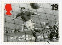 HET VERENIGD KONINKRIJK - 1996: toont William Ralph Dixie Dean 1907-1980, de legenden van de reeksvoetbal Stock Foto