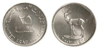25 het verenigde Arabische muntstuk van Emiraten fils Stock Afbeelding