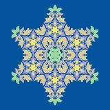Het verfijnde element van het sneeuwvlokontwerp op de achtergrond van PrinsesBlue Het minimale vectordecor van de lijnstructuur vector illustratie