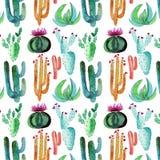 Het verfijnde mooie leuke Mexicaanse tropische bloemen kruiden de zomer kleurrijke patroon van Hawaï van een cactus met bloemen s vector illustratie