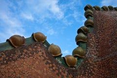 Het verfraaide dak. Casa Batllo. Antonio Gaudi Royalty-vrije Stock Afbeeldingen