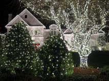 Het verfraaide Huis van Kerstmis Reston Stock Afbeelding