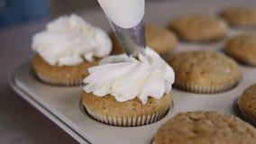 Het verfraaien cupcake met room Het gebruiken van kokende zak, banketbakker die muffins maken stock videobeelden