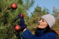 Het verfraaien van de kerstboom Royalty-vrije Stock Afbeeldingen