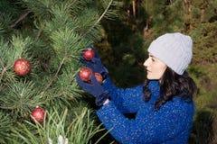 Het verfraaien van de kerstboom Stock Foto's