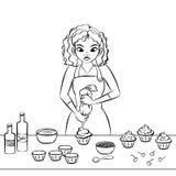 Het verfraaien van een cupcake royalty-vrije illustratie