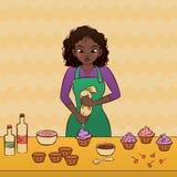 Het verfraaien van een cupcake stock illustratie