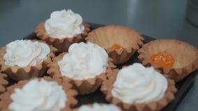 Het verfraaien van kop-cake met room Het gebruiken van kokende zak, banketbakker die veelkleurige cupcakes voor partij maken Gesc stock footage